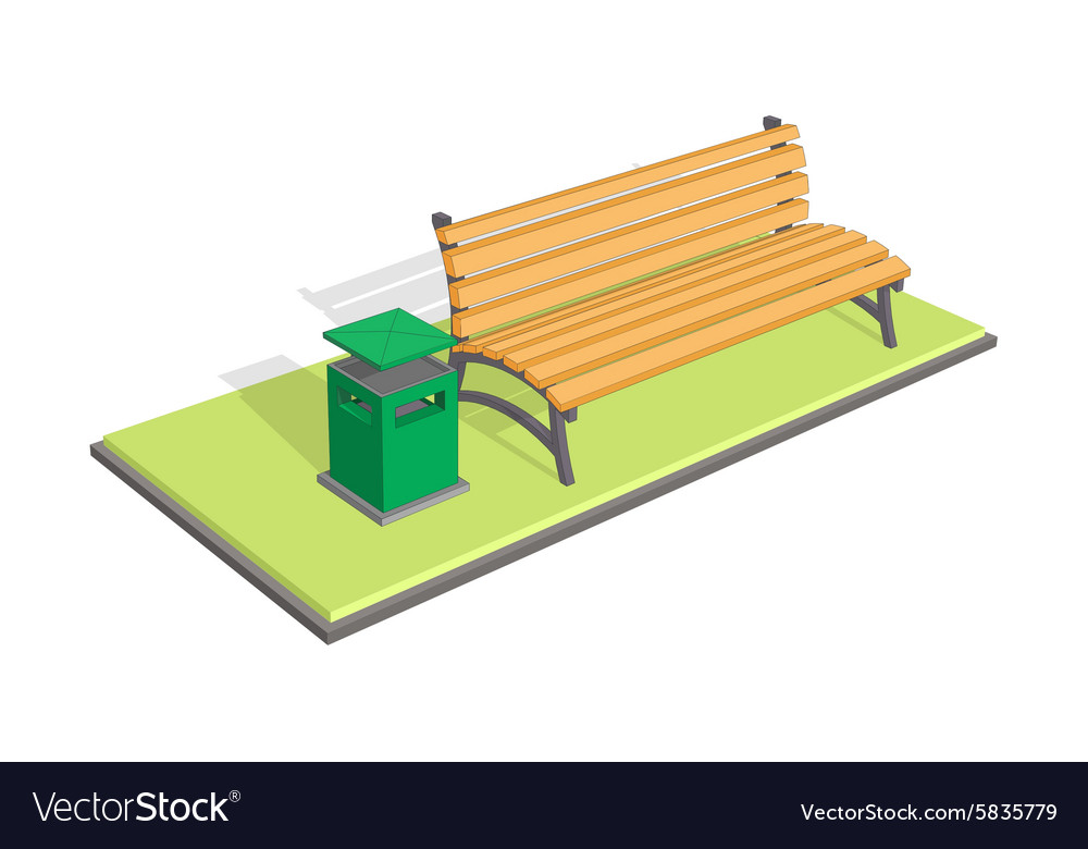 Bench in the park with litter bin - trash metal