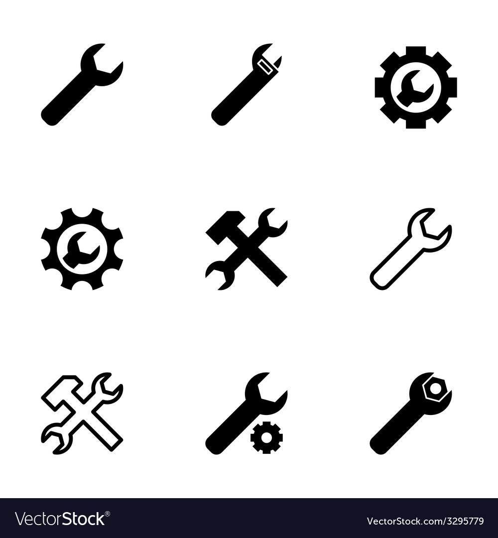 Black settings wrench icon set