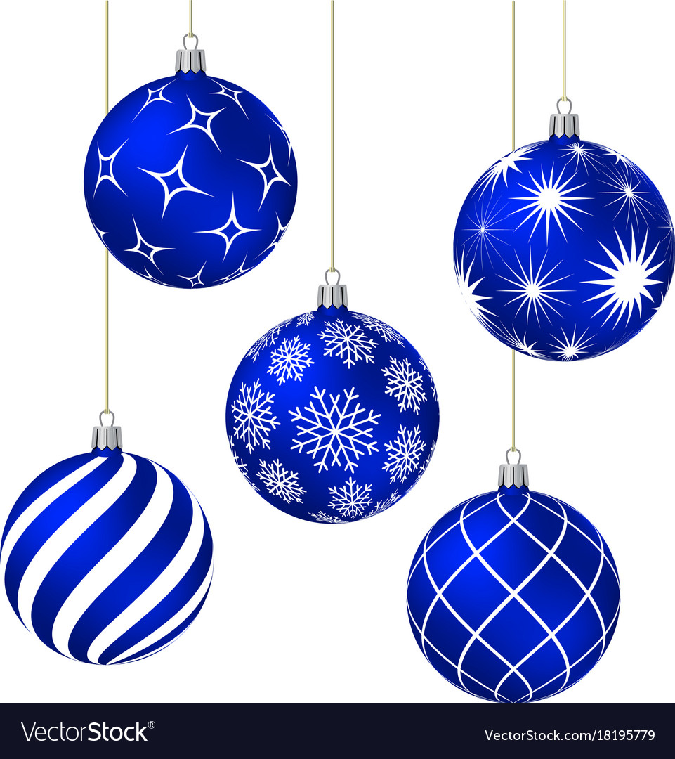 blue christmas balls with different patterns vector image - Blue Christmas Balls