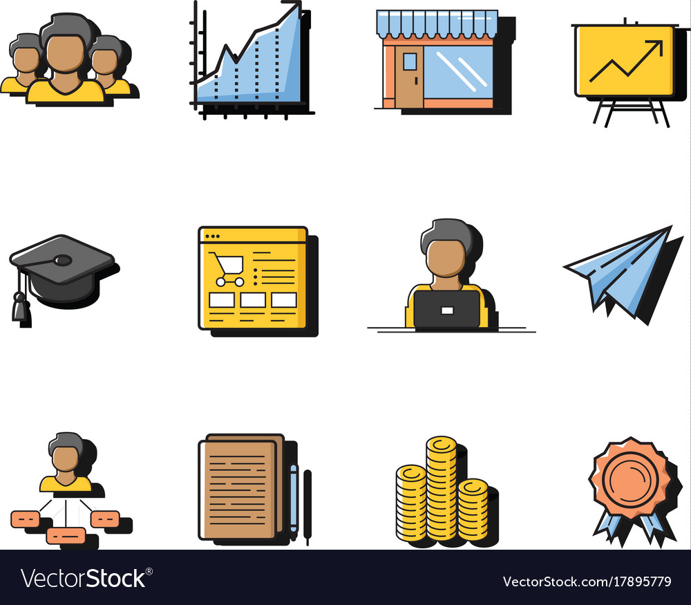 Colorful startup new business icon sets vector image