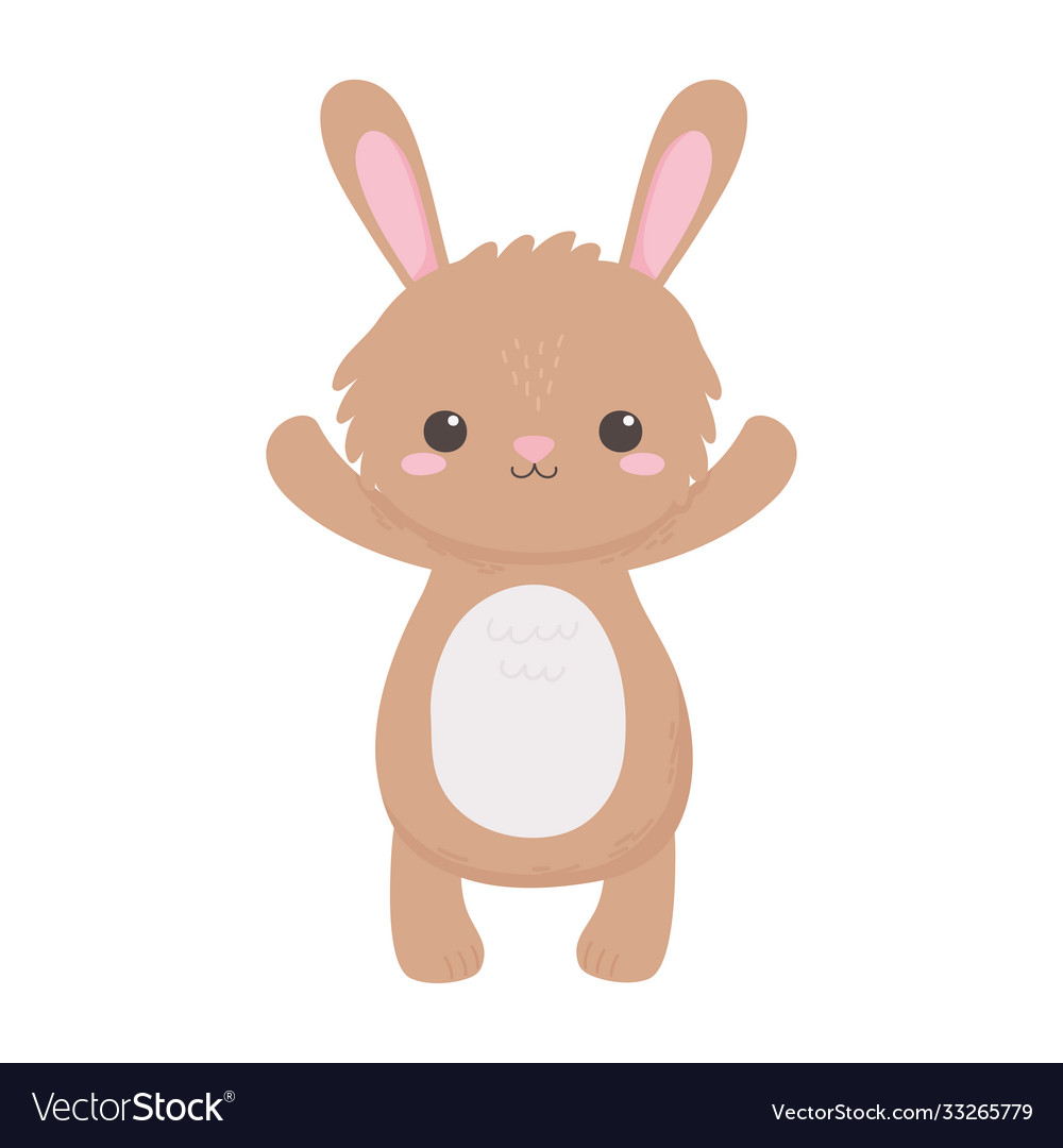 Cute little rabbit animal standing cartoon