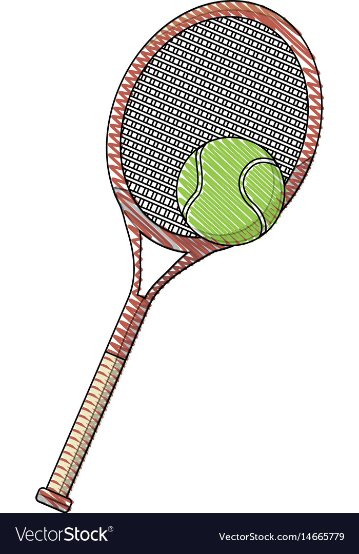 Draw tennis racket and ball sport equipment