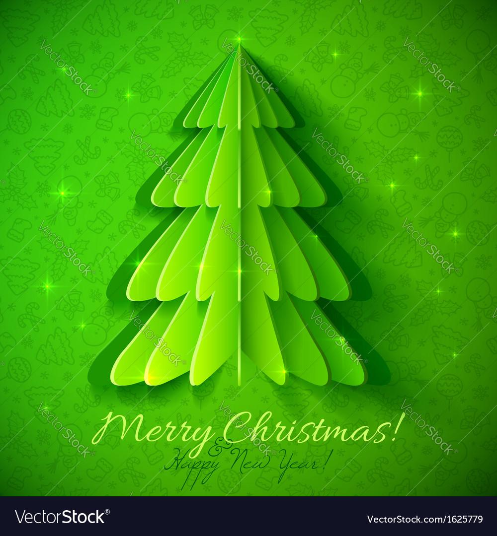 Green origami Christmas tree greeting card