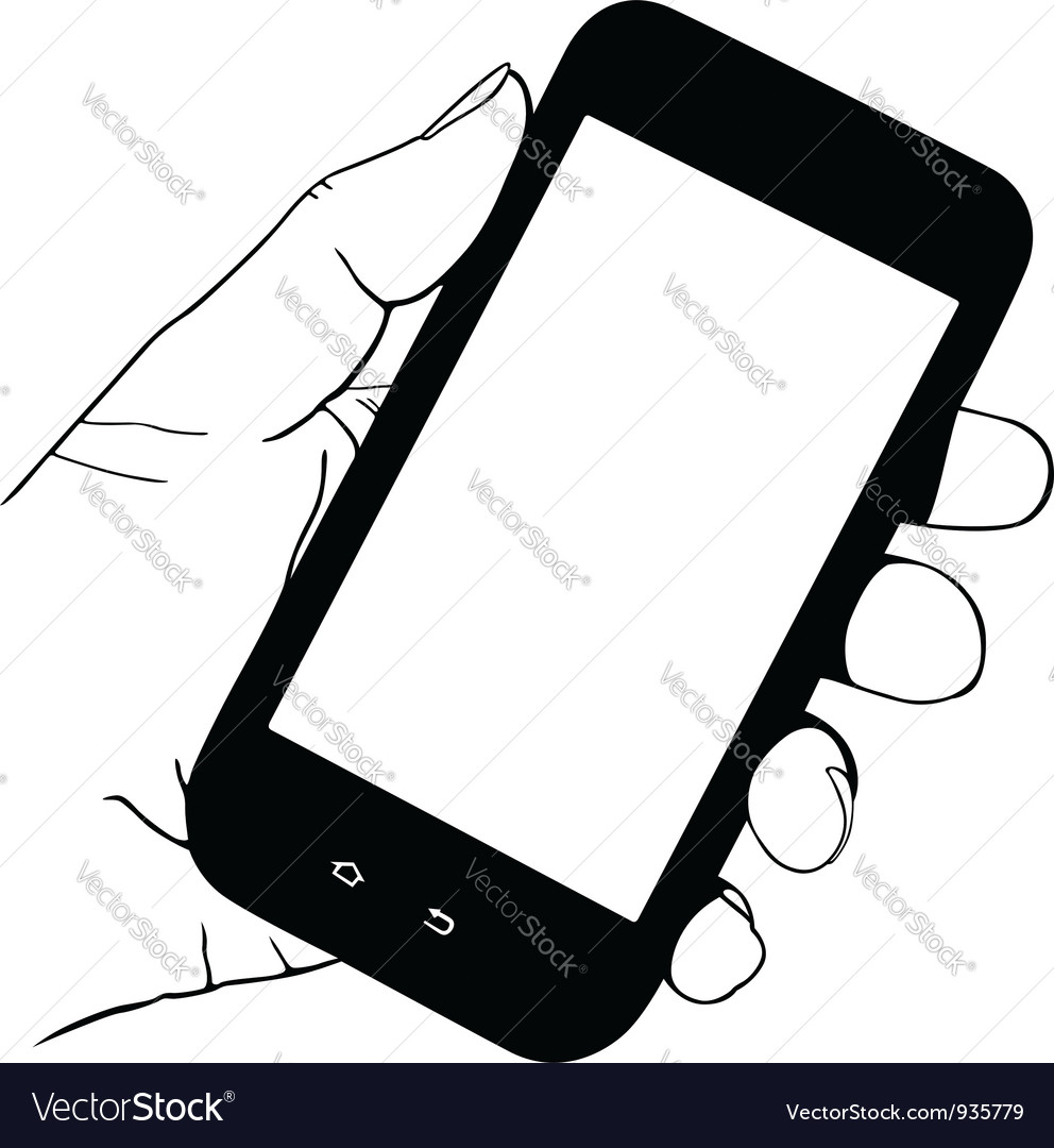 hand holding mobile phone royalty free vector image rh vectorstock com iphone vectoriel iphone vectoriel