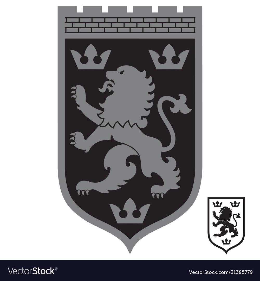 Heraldic coat arms heraldic lion and three