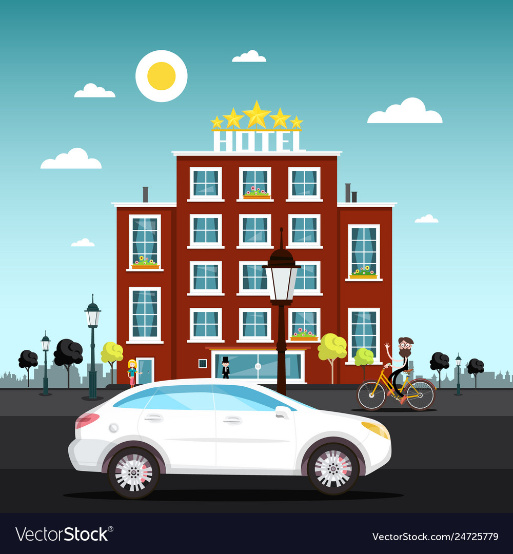 Hotel building with car on street