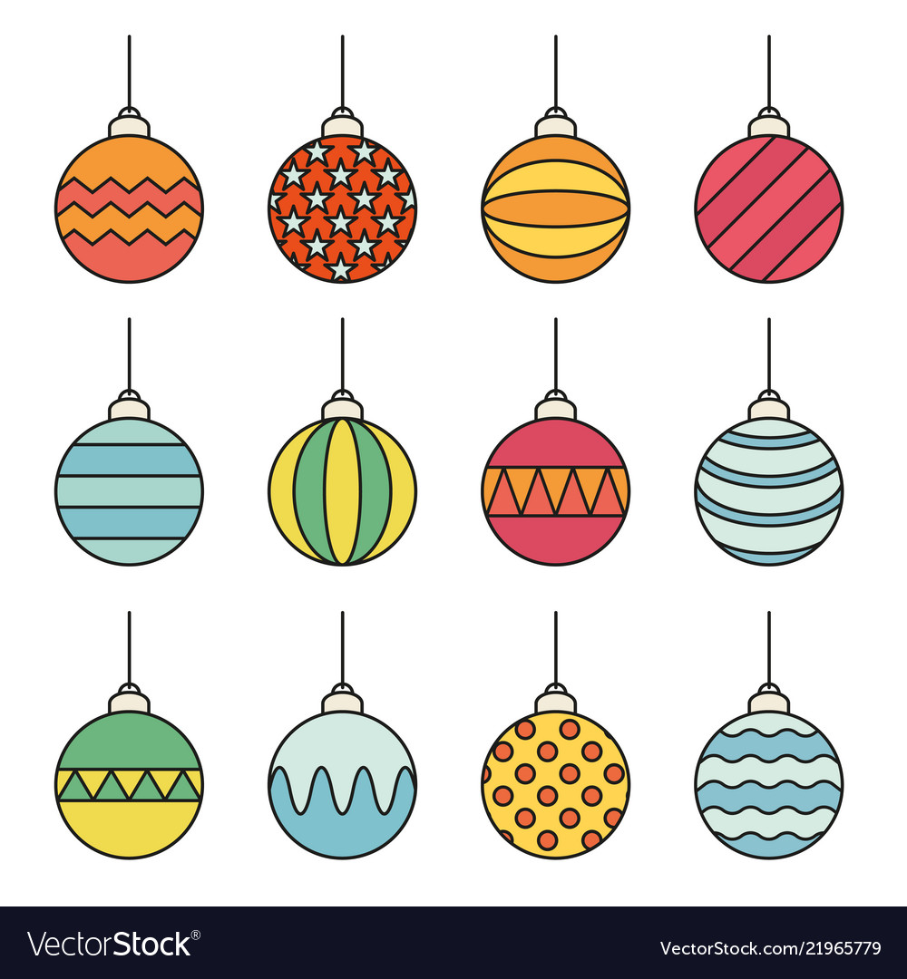 Set of christmas balls icon line art