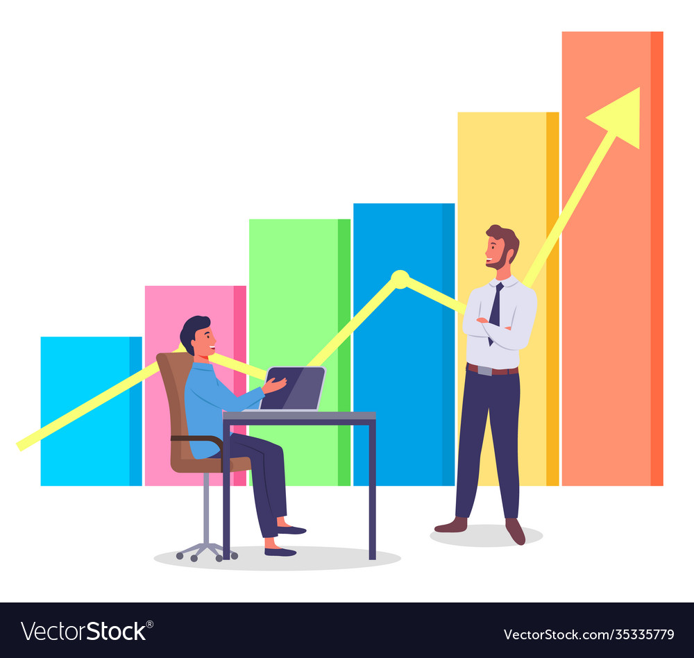 Volumetric color bar chart yellow arrow managers