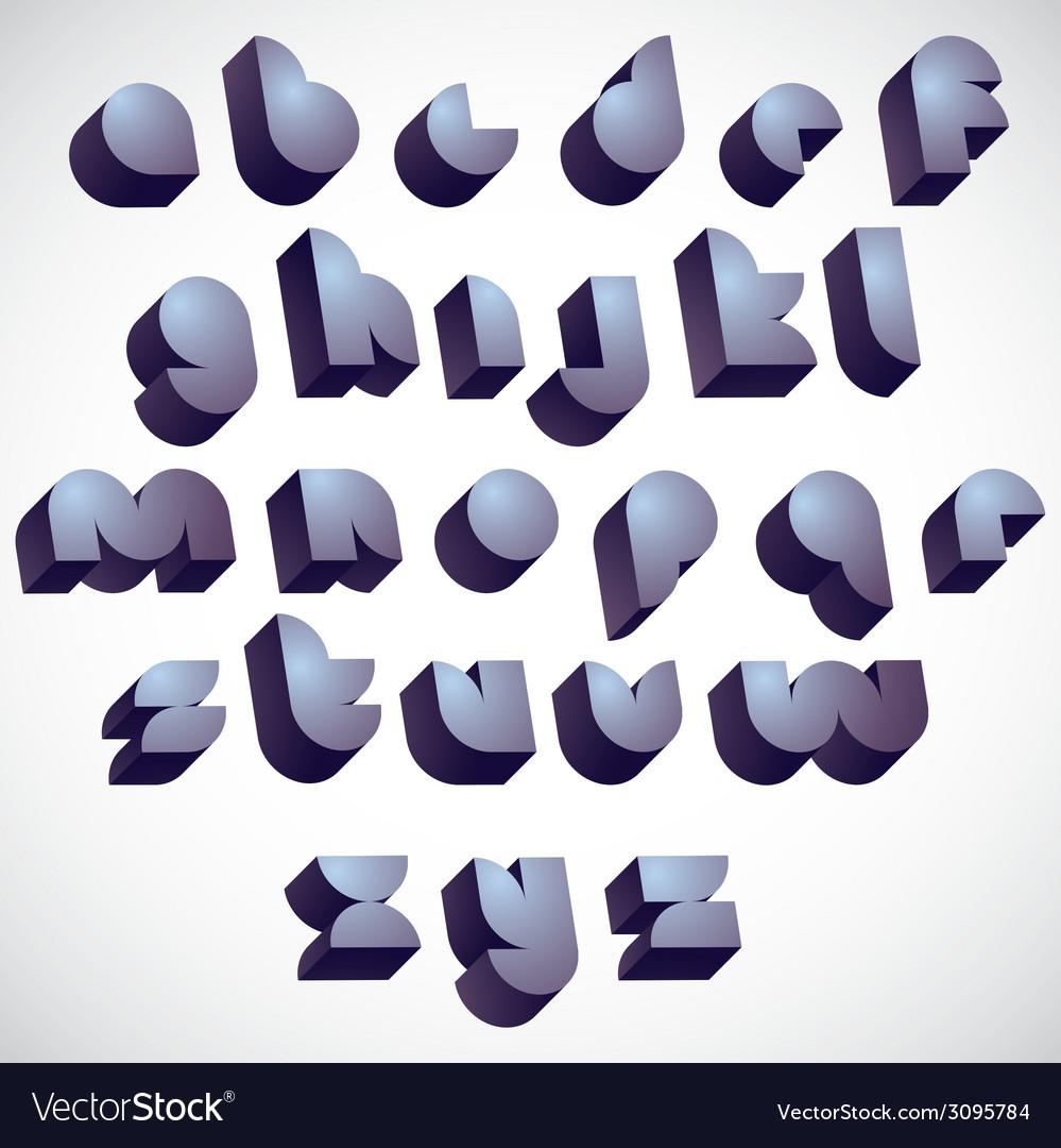 3d futuristic round font monochrome dimensional