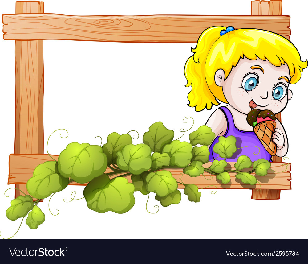 A frame with a young girl eating an icecream