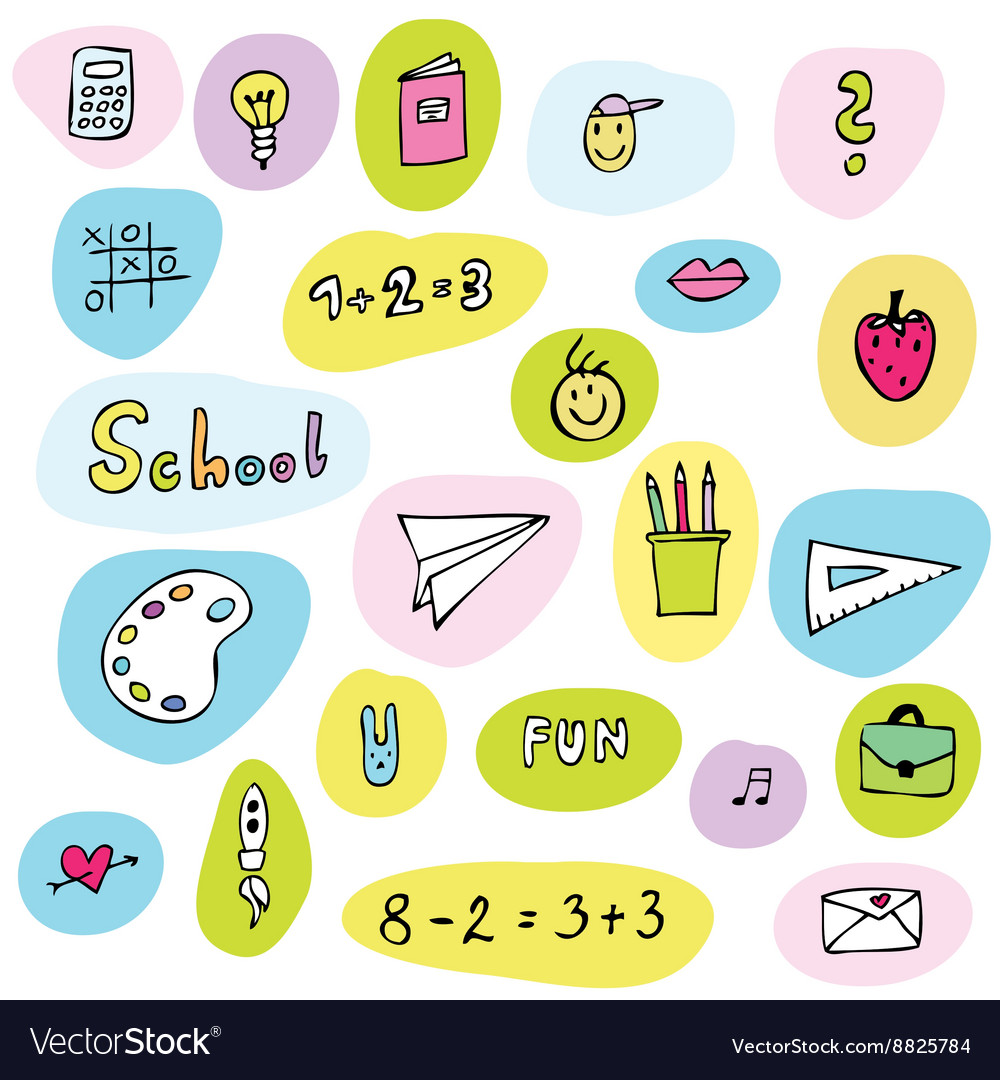 Back to school - freehand drawings of school items vector image