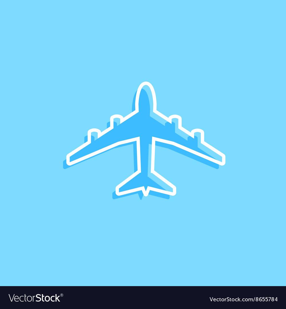 Blue plane icon on blue