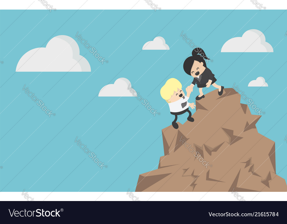 Business woman helping a businessman climb a