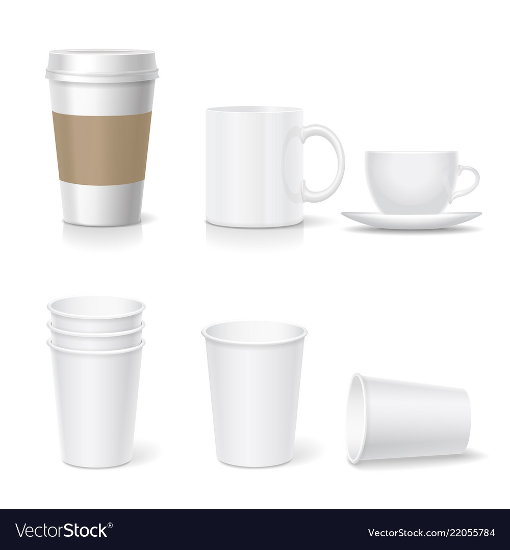 Coffee paper cup template and coffee mug set