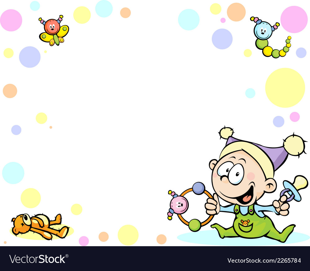 Cool baby background with funny baby toys and vector image