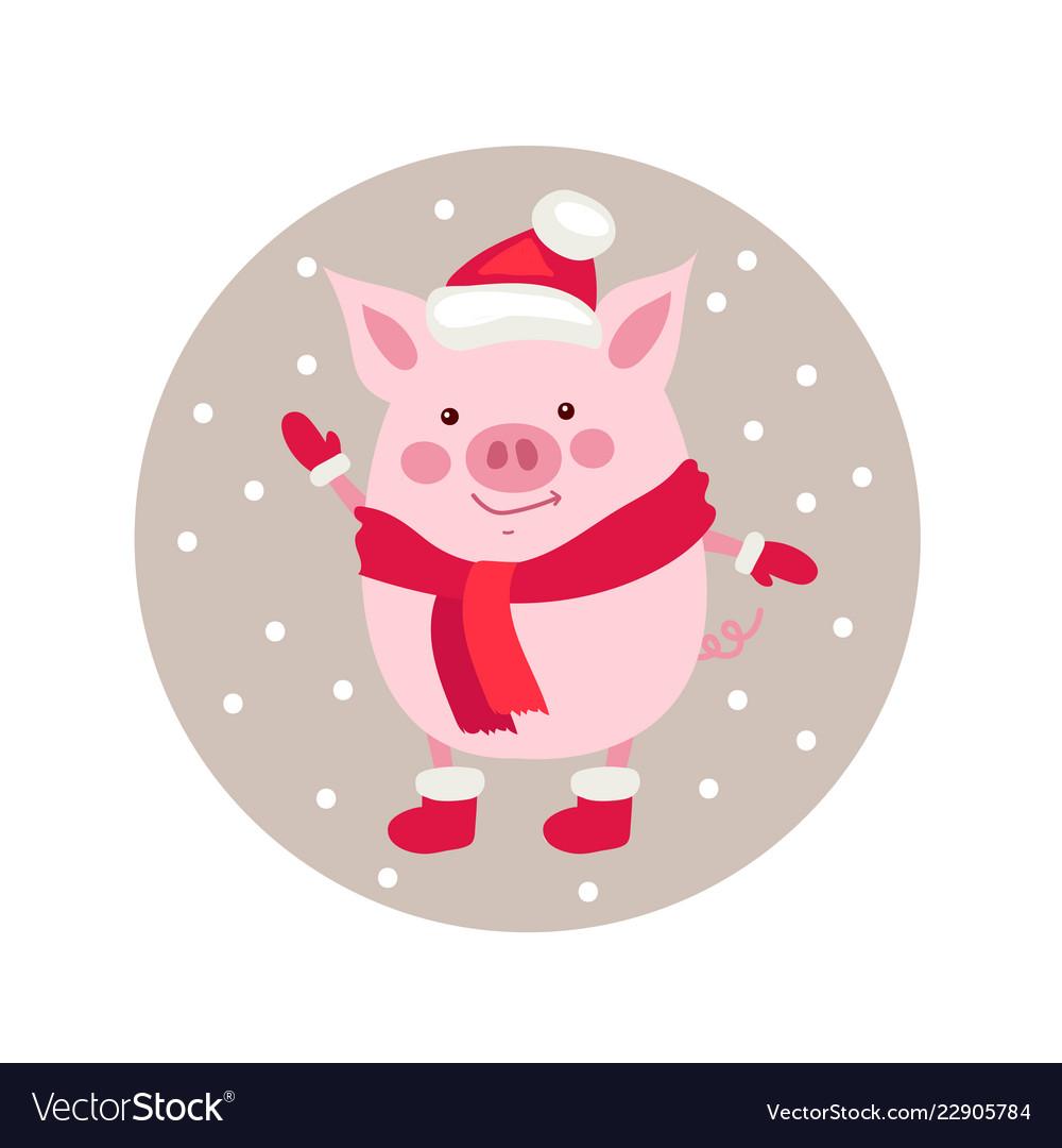 Funny card design with cute cartoon pig