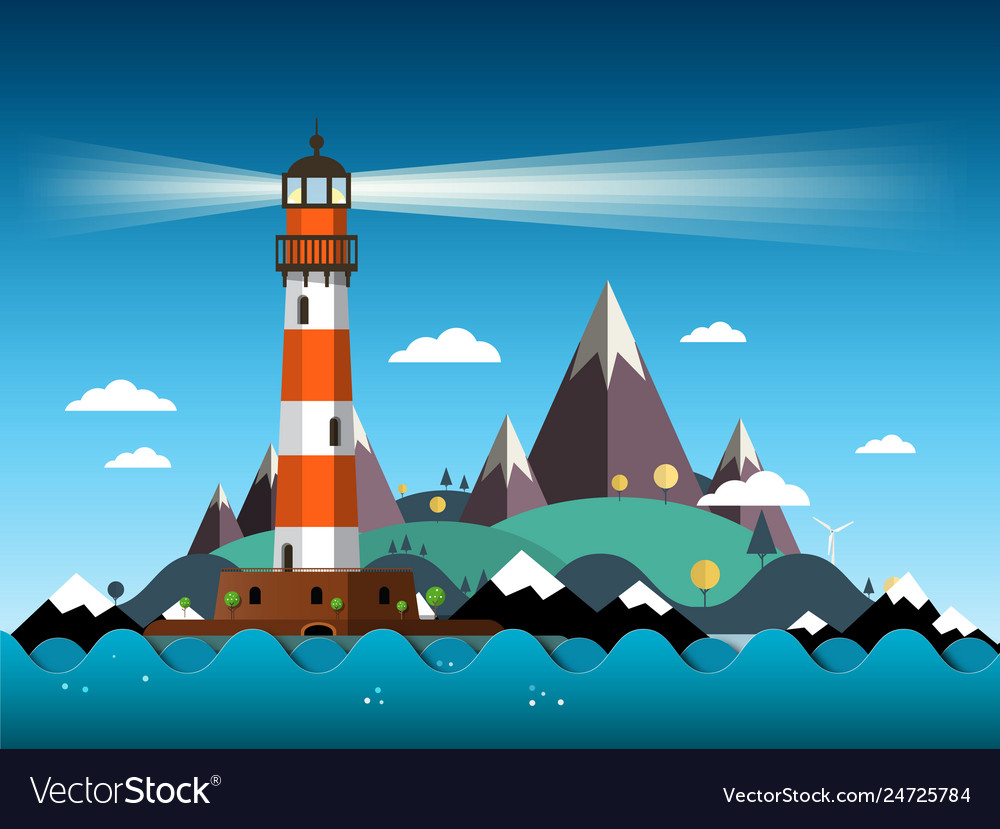 Island with lighthouse on sea and mountains