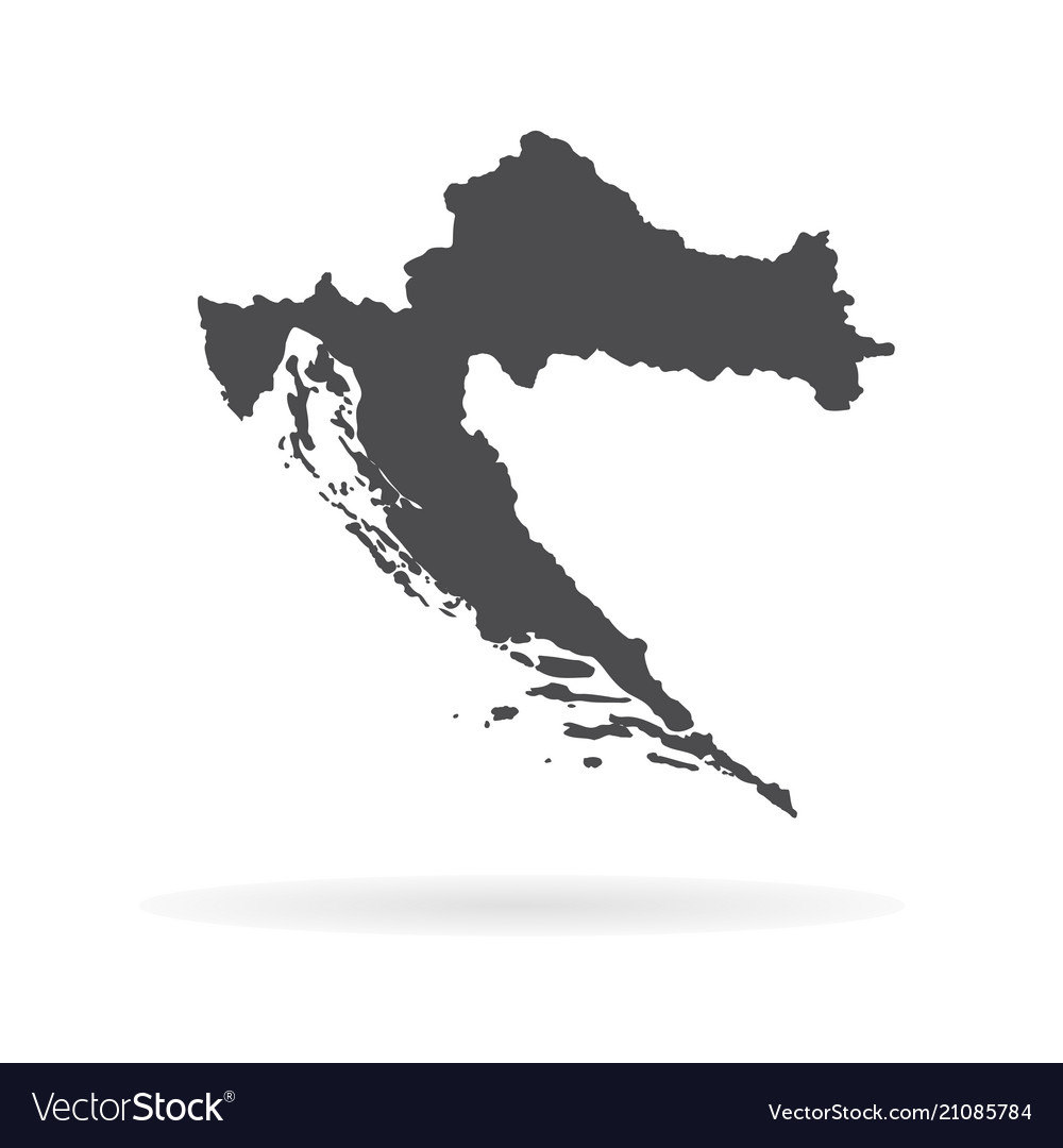 Map croatia isolated black