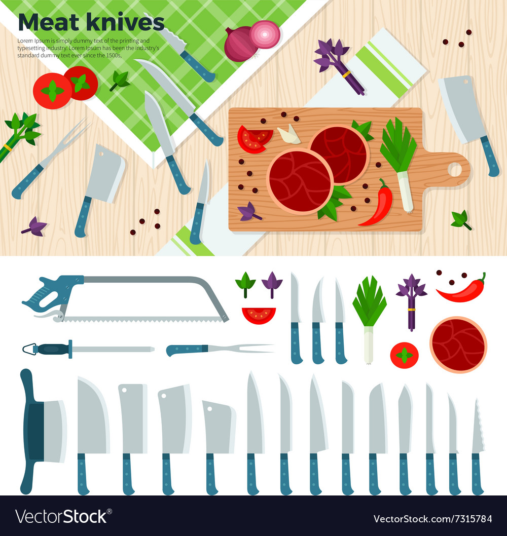 Modern Kitchen Knives for Meat and Vegetables