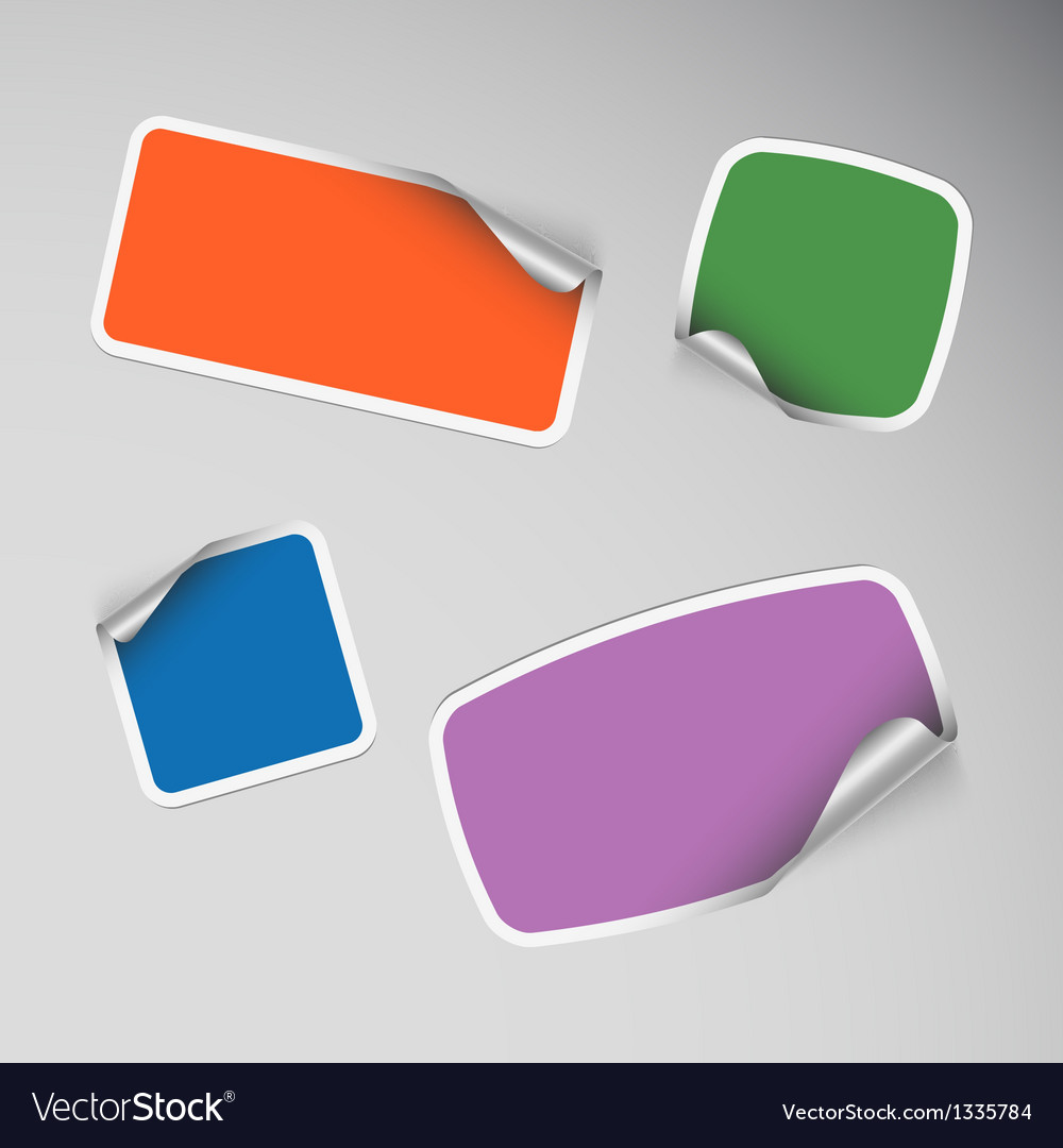 Set of colored blank rectangle stickers