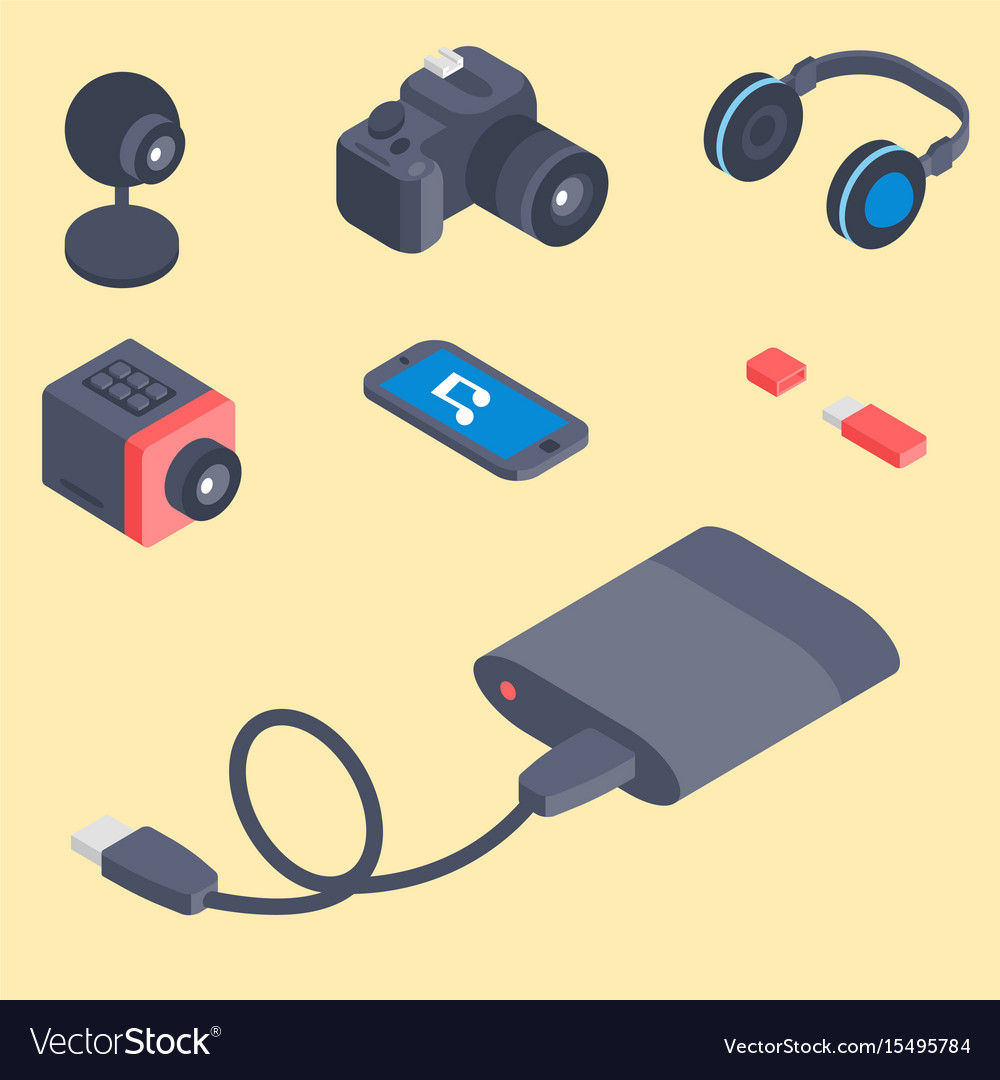 Set of isometric computer devices icons