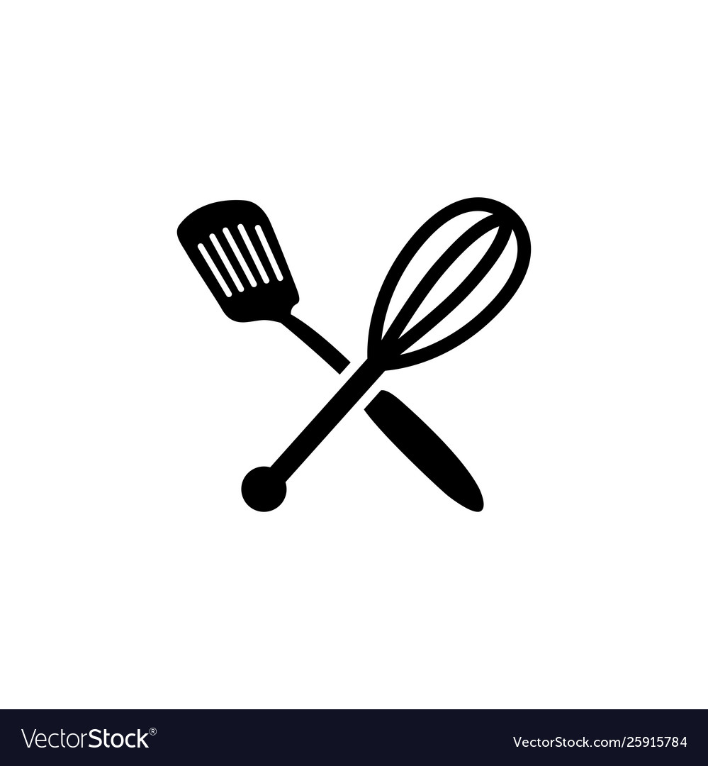 Spatula whisk icon in flat style for apps ui