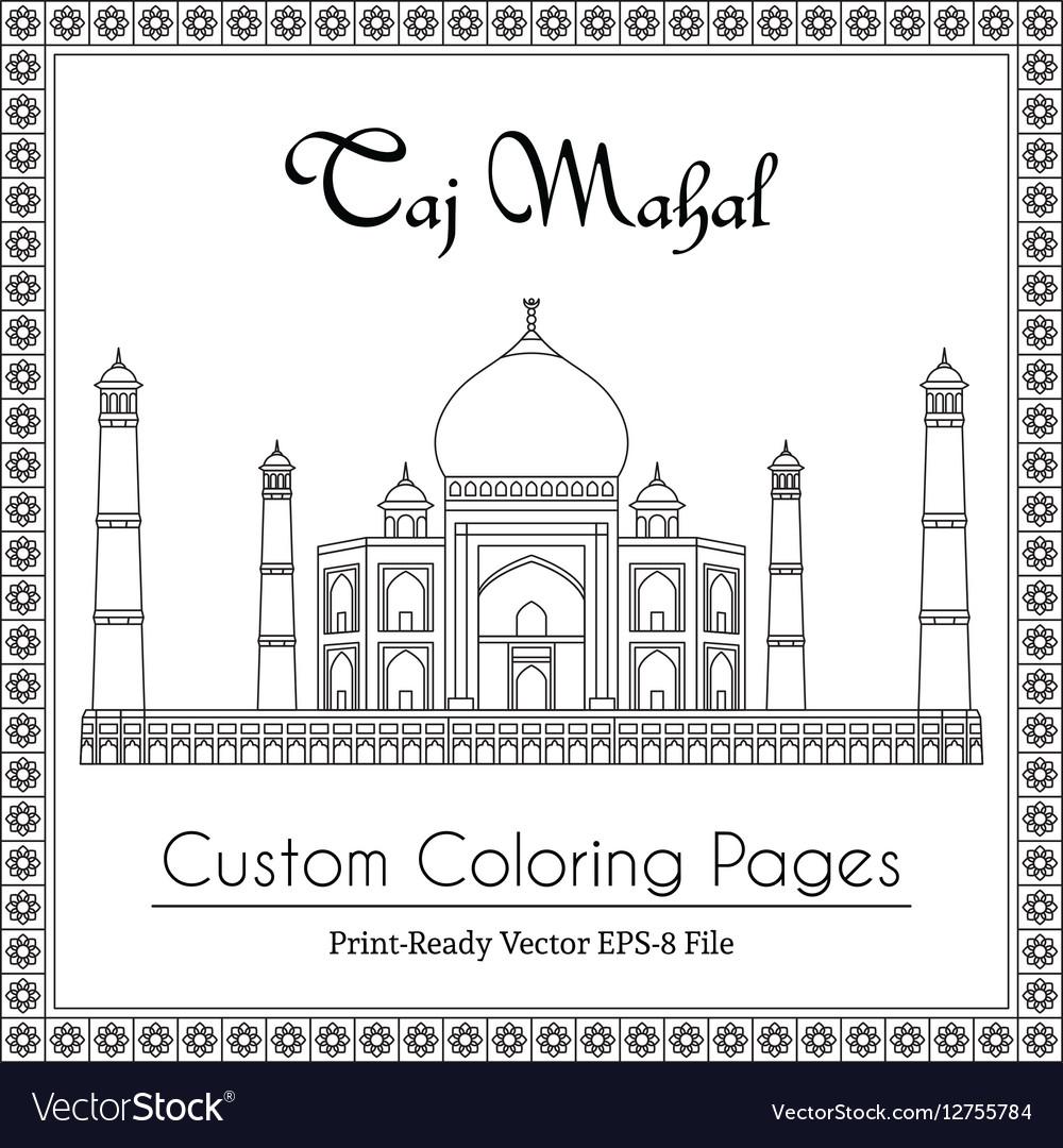 Taj Mahal Temple Coloring Book Royalty Free Vector Image