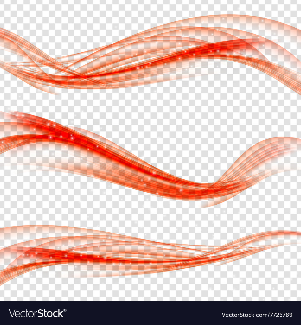 Abstract red wave set on transparent background