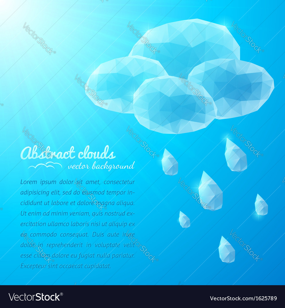 Crystal rainy cloud abstract background vector image