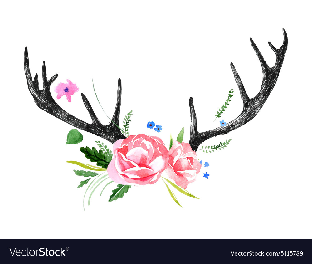 Deer horns with watercolor flowers