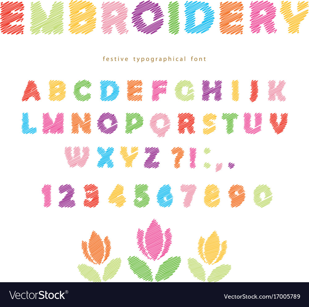 Embroidery colorful font design isolated on white