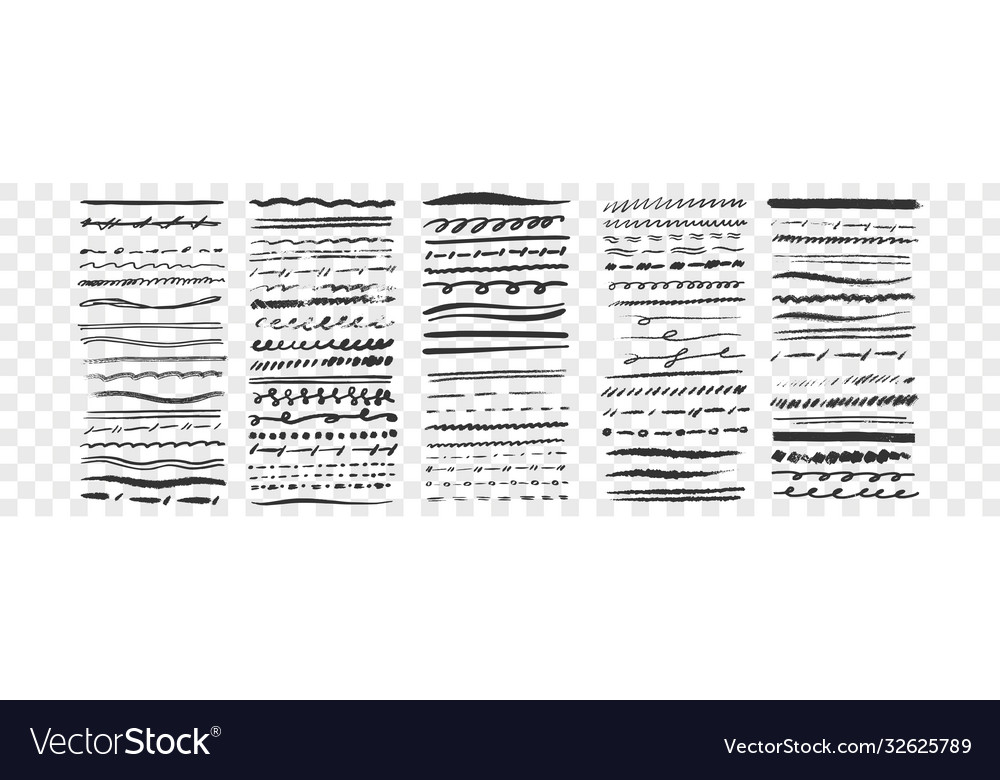 Hand drawn lines set collection