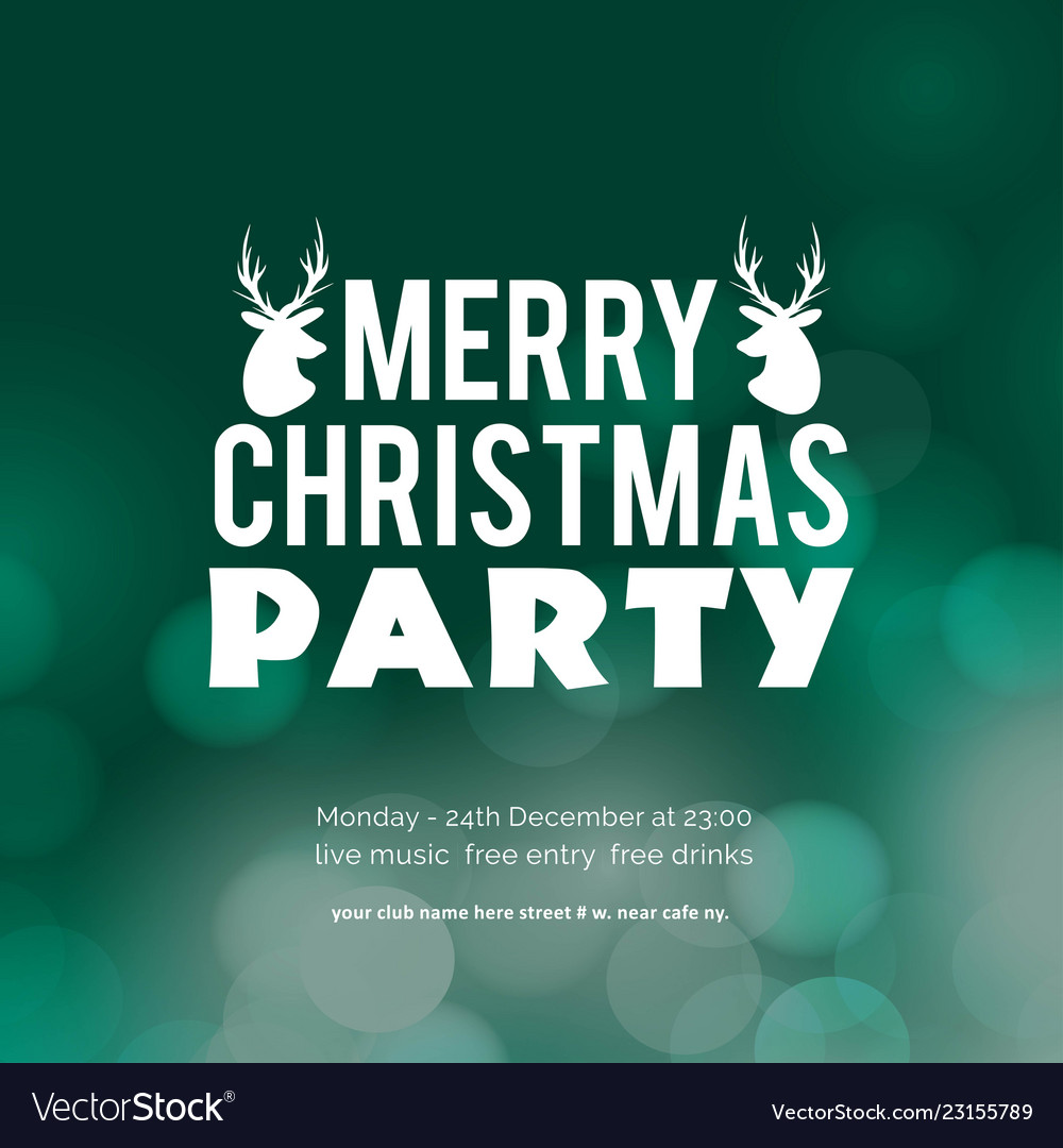 Merry christmas party glowing green background