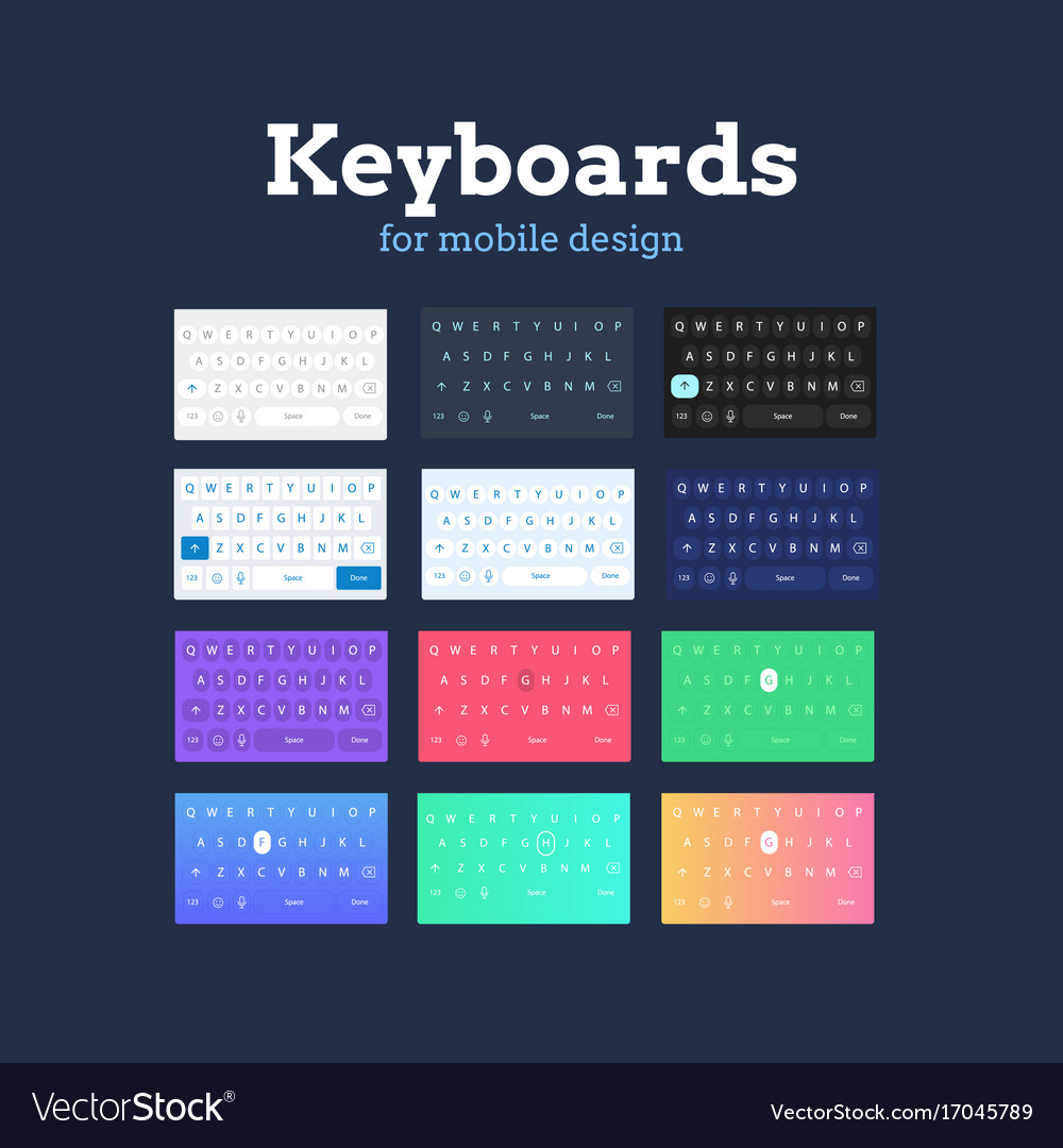 Qwerty mobile keyboards in different colors and