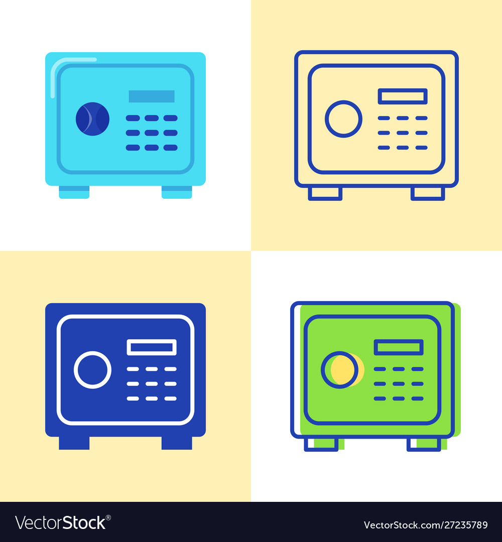 Safe box icon set in flat and line style