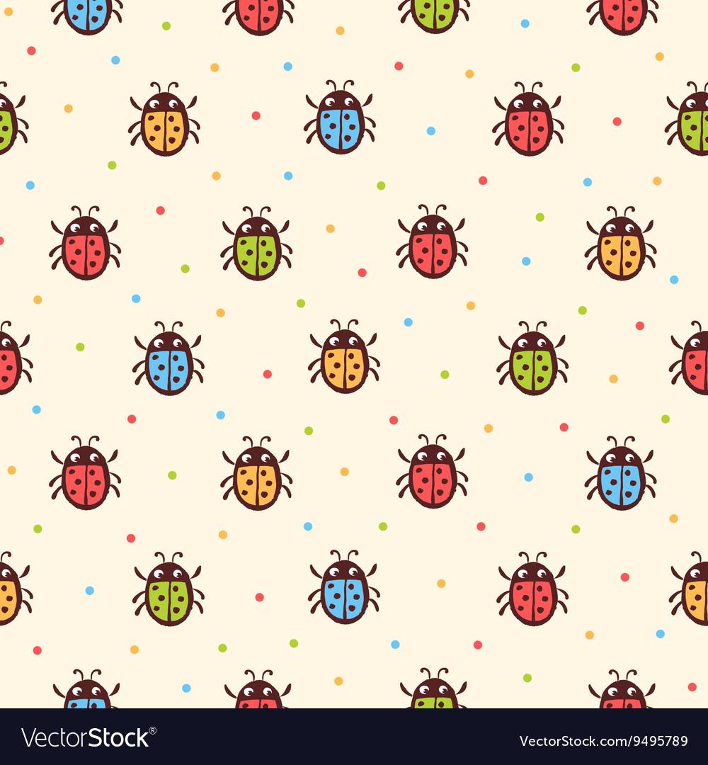 Seamless childish ladybugs pattern