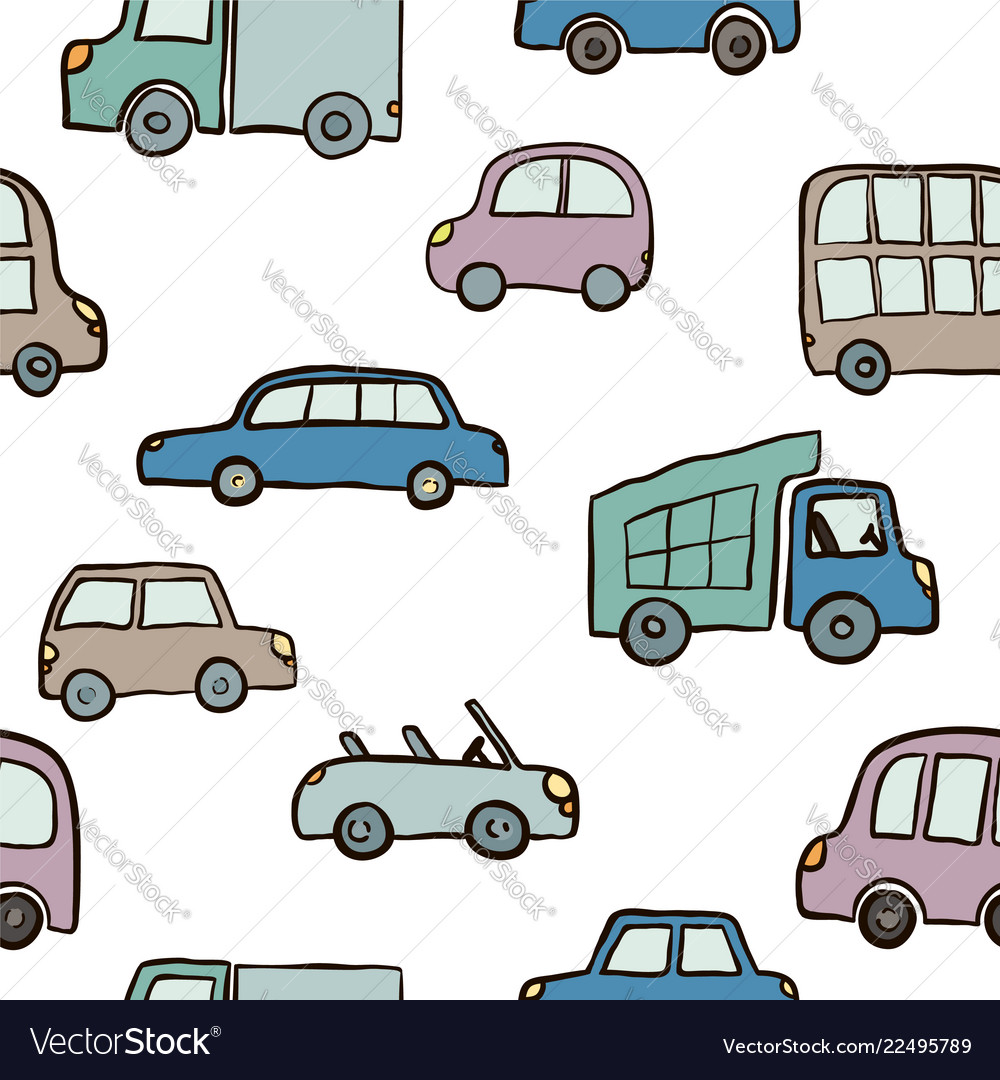 Seamless pattern of hand drawn cute cartoon cars