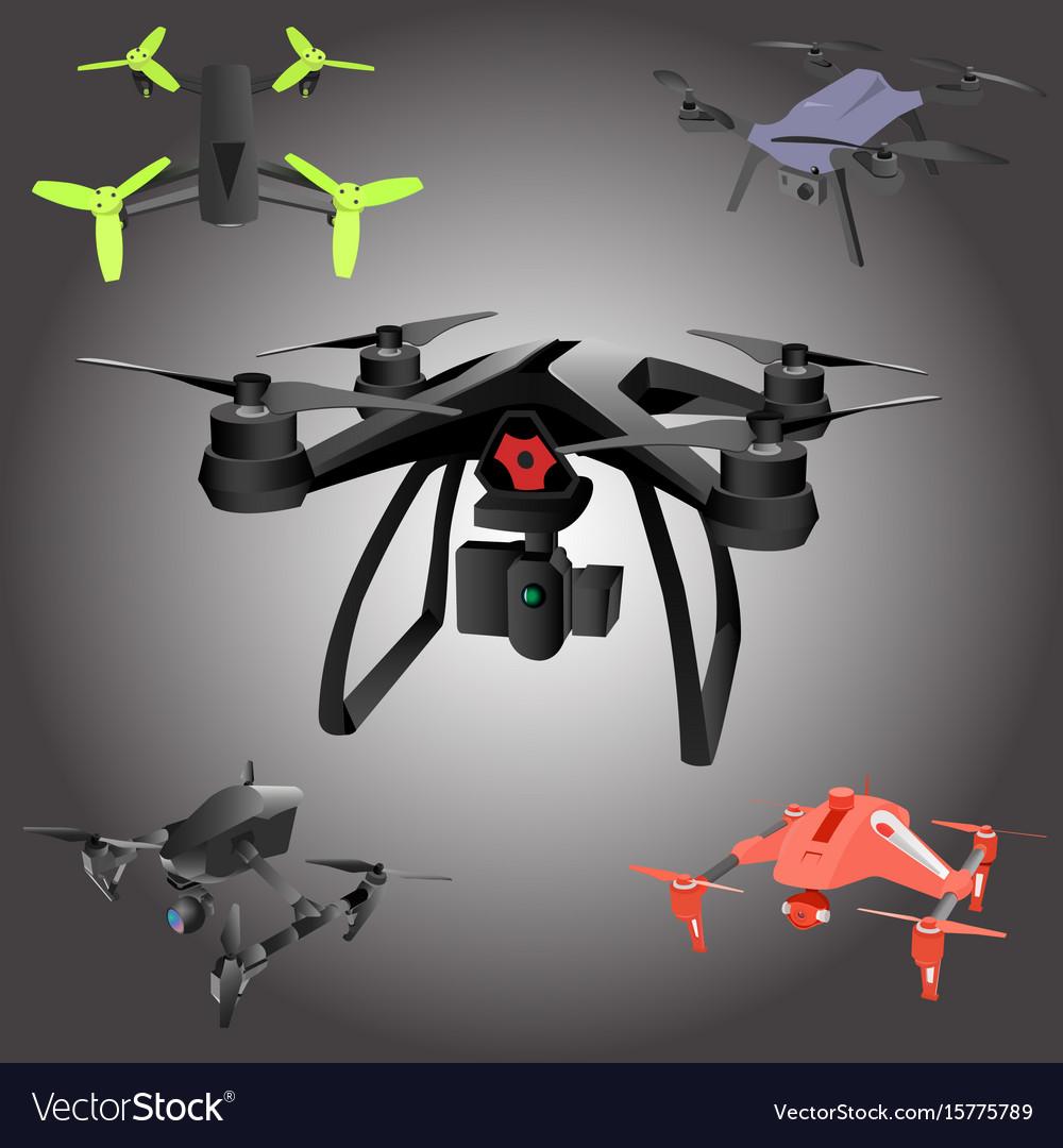 Set of cartoon drones isometric