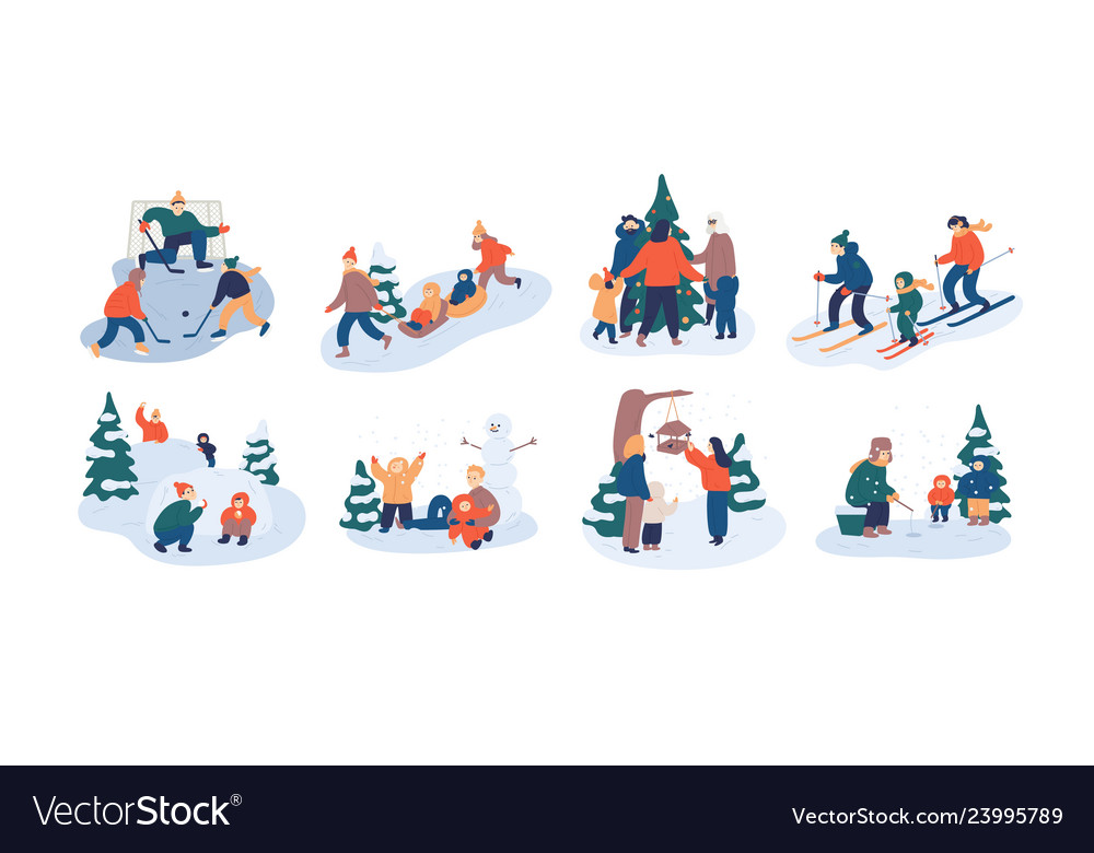 Set of family winter leisure activities mother