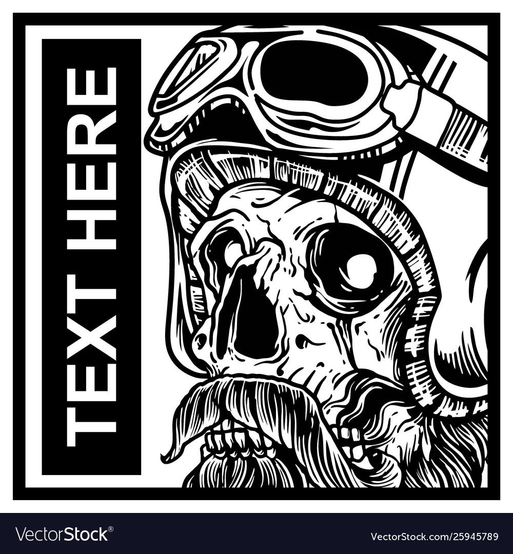 Skull wearing helmet hand drawing
