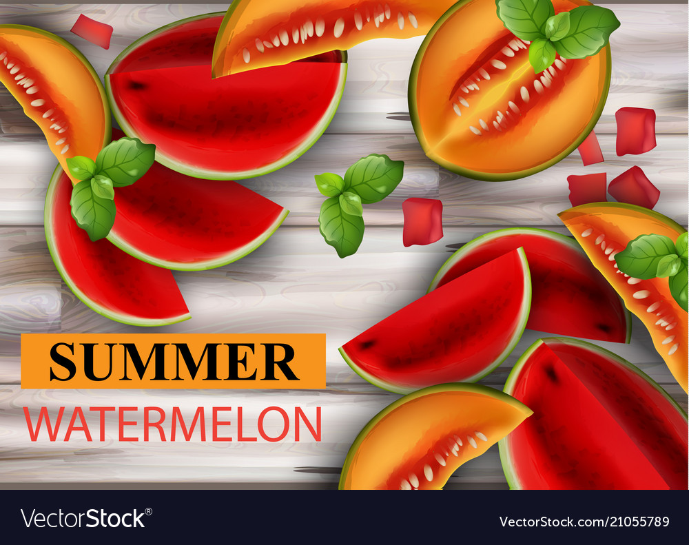 Summer watermelon and melon fruits slices