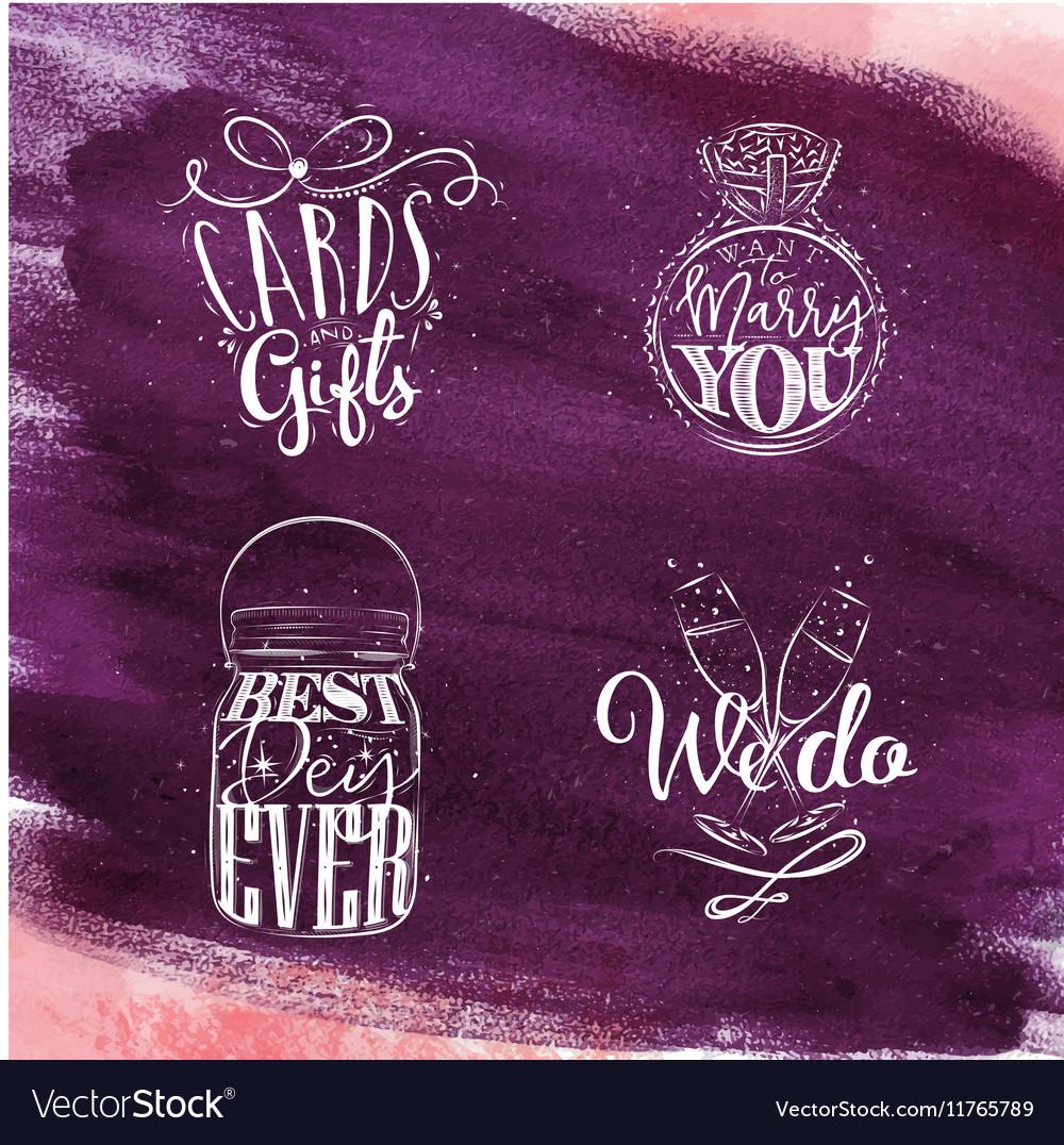 Wedding symbols violet vector image