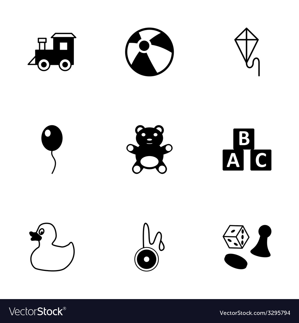 Black toys icon set