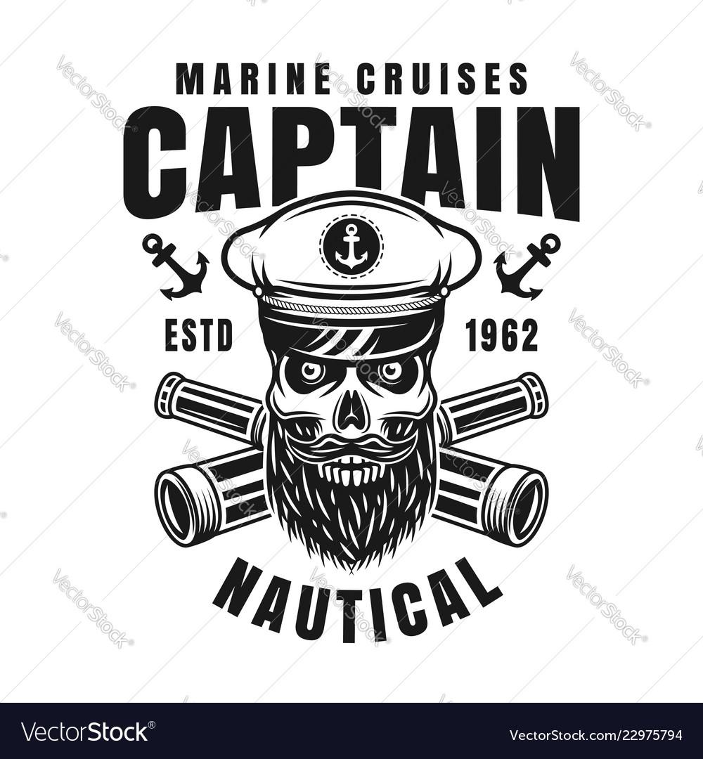 Captain bearded skull nautical emblem