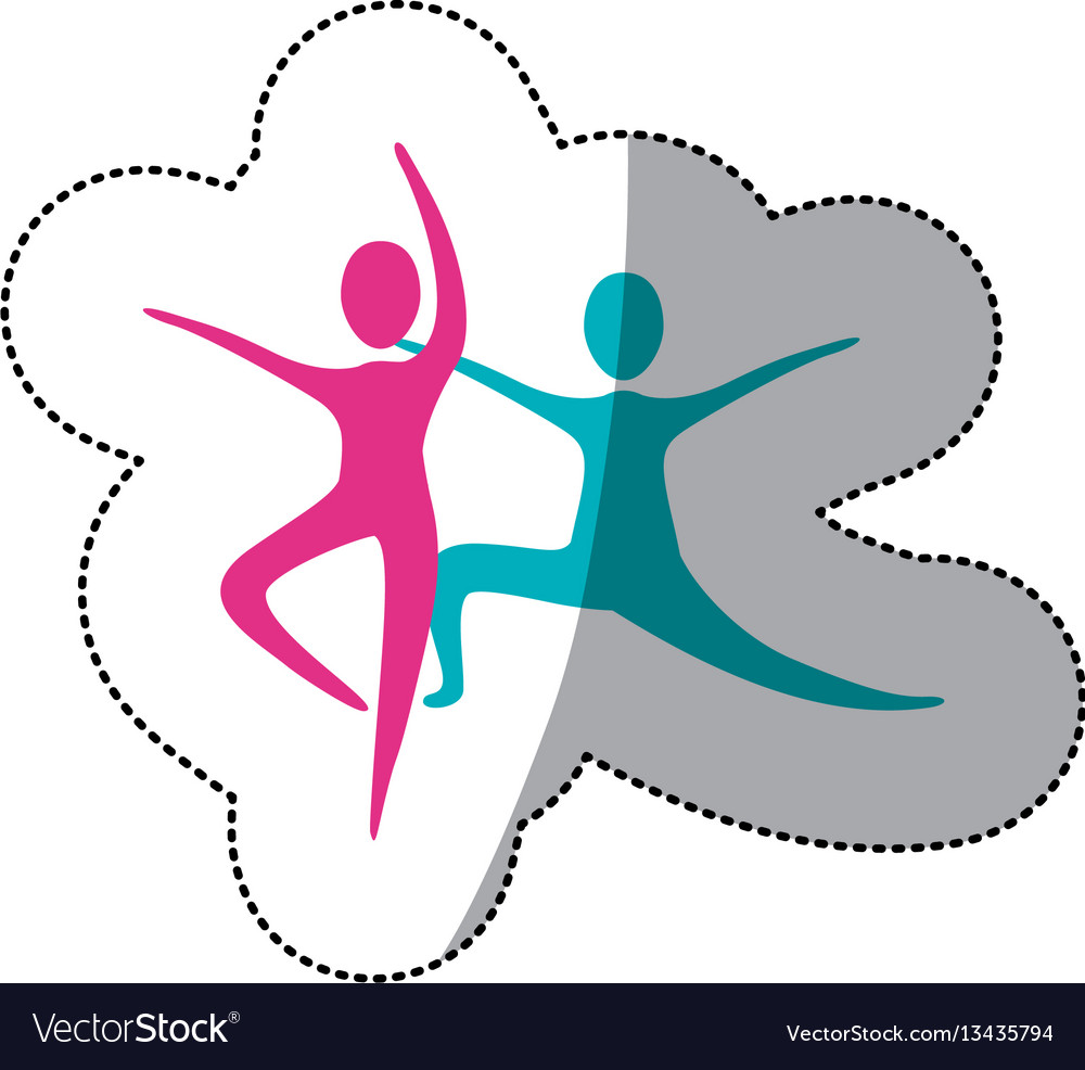 Color people practicing dancing icon vector image