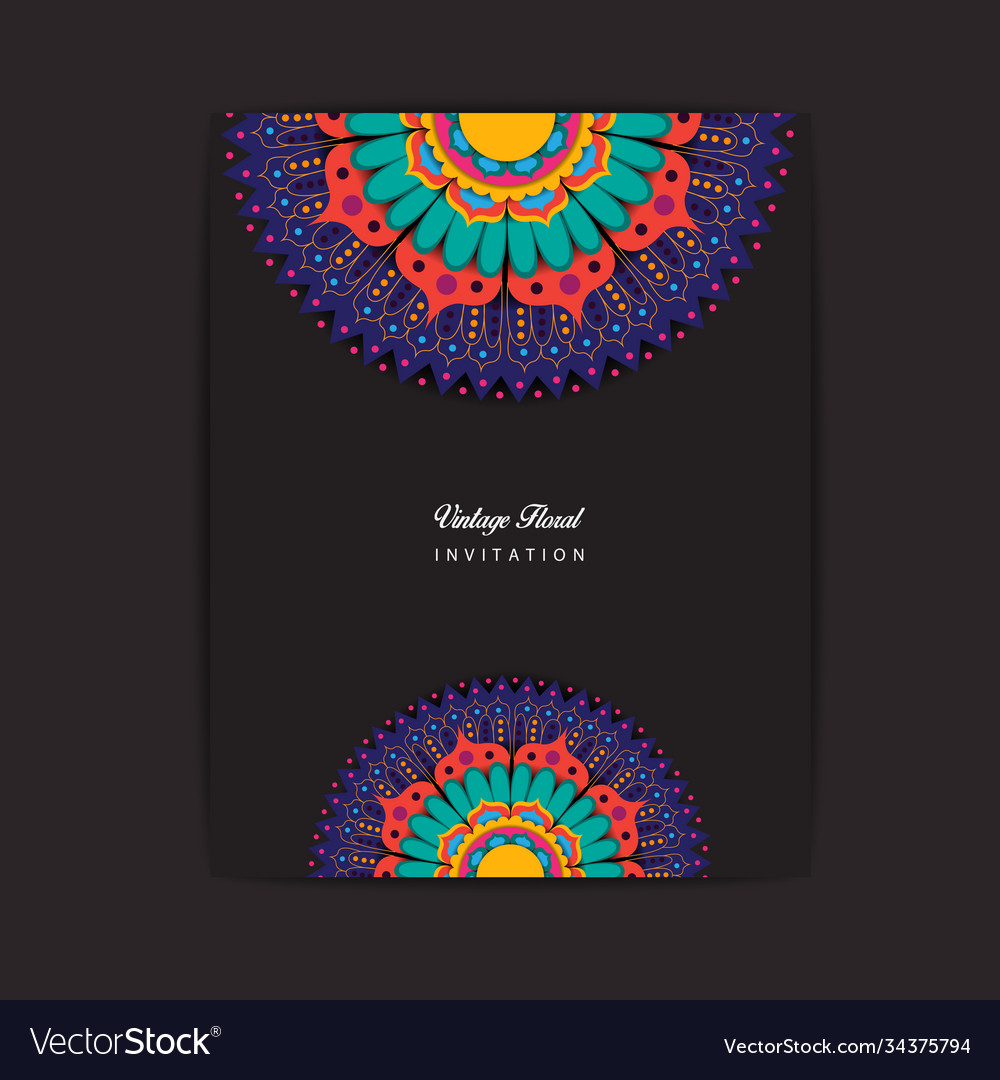 Colorful mandala invitation design