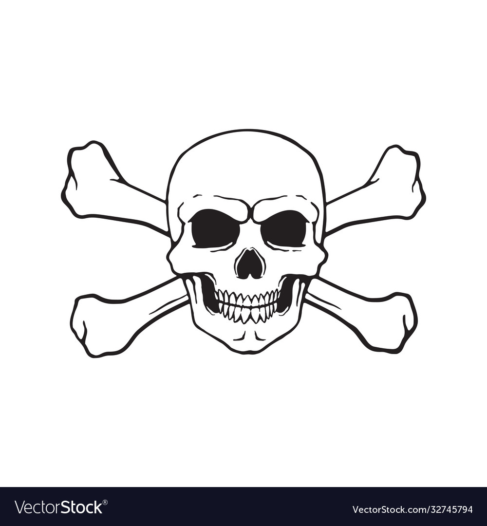 Doodle skull jolly roger with crossbones behind