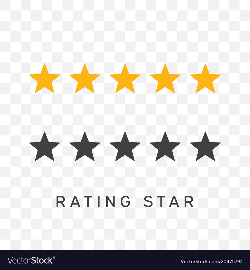 Five stars rating in yellow and black silhouette