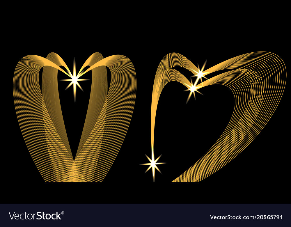 Golden waves in the shape of heart on a black