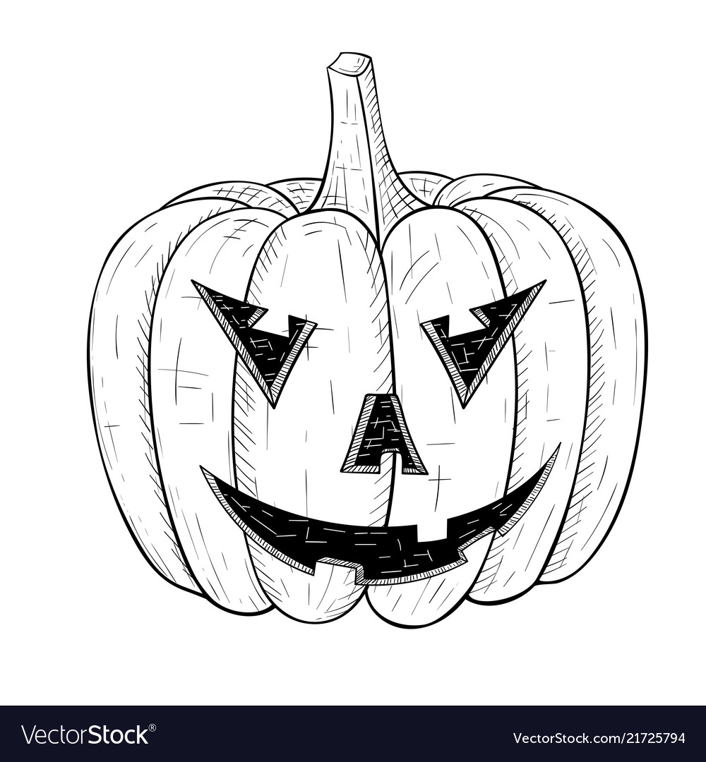Halloween pumpkin carved angry face hand drawn